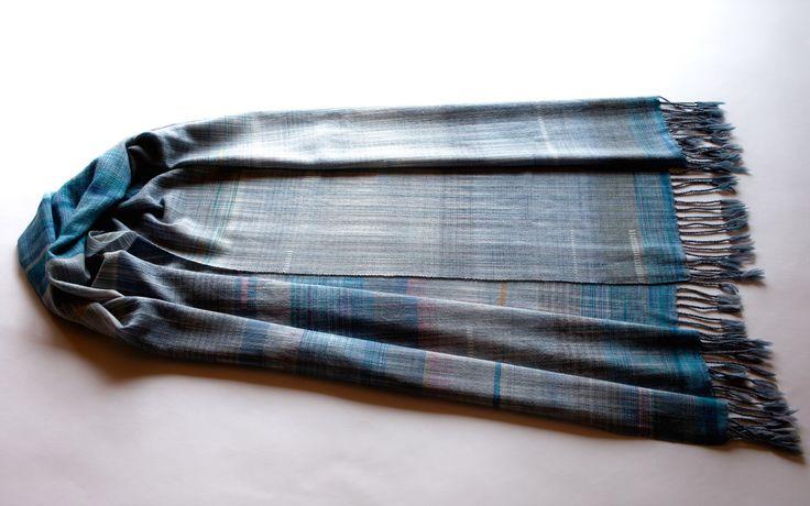 thtewear:  2015~2016Hand-woven scarves No.10Warp&Weft  Extra fine merino wool yarn56.5cm×198cm