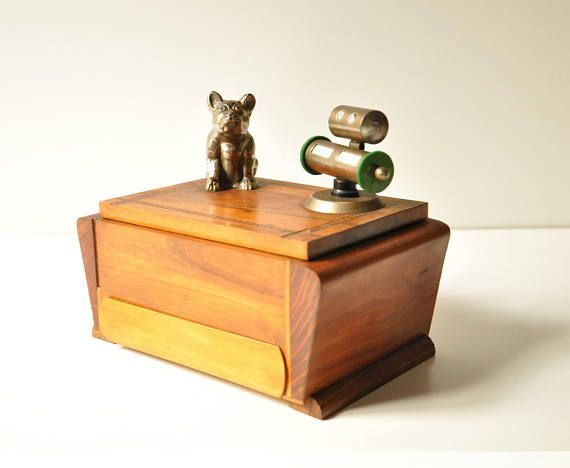 Antique French Art Deco Wooden Desk Top Cigarette Box With