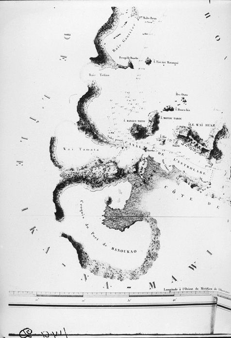1827. Part of Captain Dumont D'Urville's chart of Waitemata and Manukau Harbours and the east coast as far north as Mahurangi Heads. Sir George Grey Special Collections, Auckland Libraries, 4-179D.