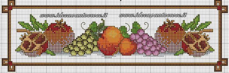 bordura frutta schema punto croce