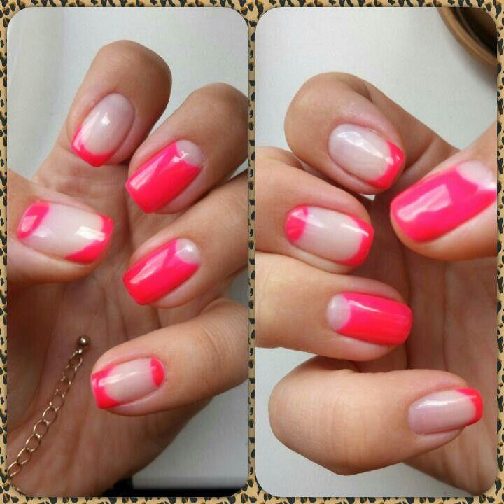 Цветной французский маникюр розовый