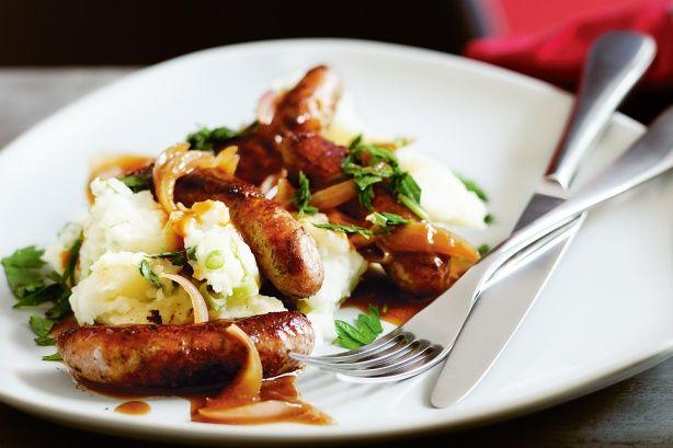 Sausages and champ mash with eschalot gravy recipe @recipesfornet