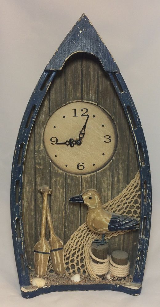 New Rustic Shabby Wood Boat Seagull Beach Nautical Themed Wall Clock NWOT #Unbranded #Nautical