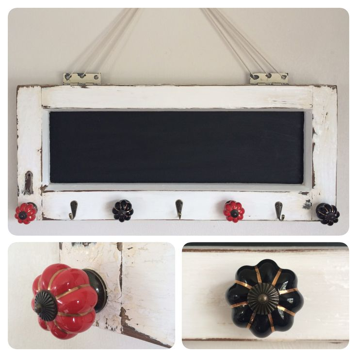 Multipurpose coat rack repurposed from an old window. Blackboard with hooks for keys and coats!