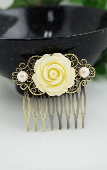 Vintage style Rose Flower Hair comb from EarringsNation Bridal Hair comb, Bridal Hair accessories