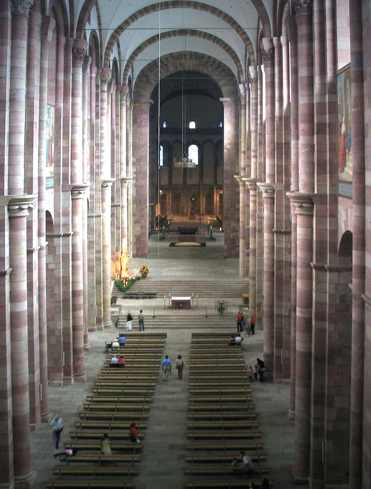 GERMAN ROMANESQUE: Speyer Cathedral begun 1030 and remodelled at the end of the 11th century. It is one of the most important Romanesque monuments from the time of the Holy Roman Empire. The cathedral was the burial place of the German emperors for almost 300 years.