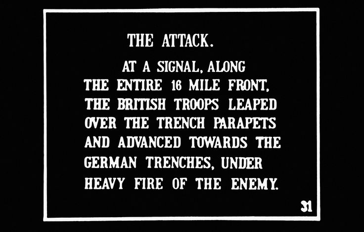 Marche sur Morval.  Cartouche tiré de The Battle of the Somme (1916). Imperial War Museums (DVD, The official collection).