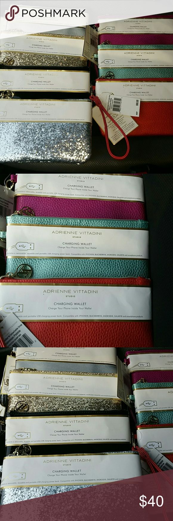 Adrienne Vittadini Phone Charger Wallet Wristlet NWT  Wristlet/wallet with built in slim card-sized USB cell phone charger for iPhone, Galaxy,  Blackberry and Android phones.   Comes with lightning adapter and detachable wrist strap.  Zip closure with AV logo pull.  Removable slim charger pack.  6 pockets for credit cards/ID.  Colors: Fuchsia Pebble (matte metallic) Ice Blue Pebble ( aqua matte metallic) Persimmon Pebble (matte metallic) Silver Smooth (matte) Gold Glitter Black Patent Silver…