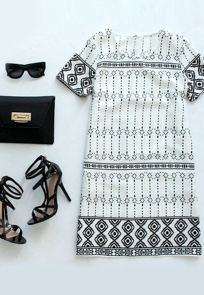 ** STITCH FIX STYLIST----THIS is exactly the style dress I'm looking for!!   Graphic Prince Ivory and Black Shift Dress
