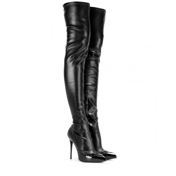 Alexander McQueen Leather and Patent Leather Over-the-Knee Boots (11.844.585 IDR) ❤ liked on Polyvore featuring shoes, boots, heels, botas, saappaat, black, over the knee heel boots, thigh boots, black patent leather boots and leather thigh boots