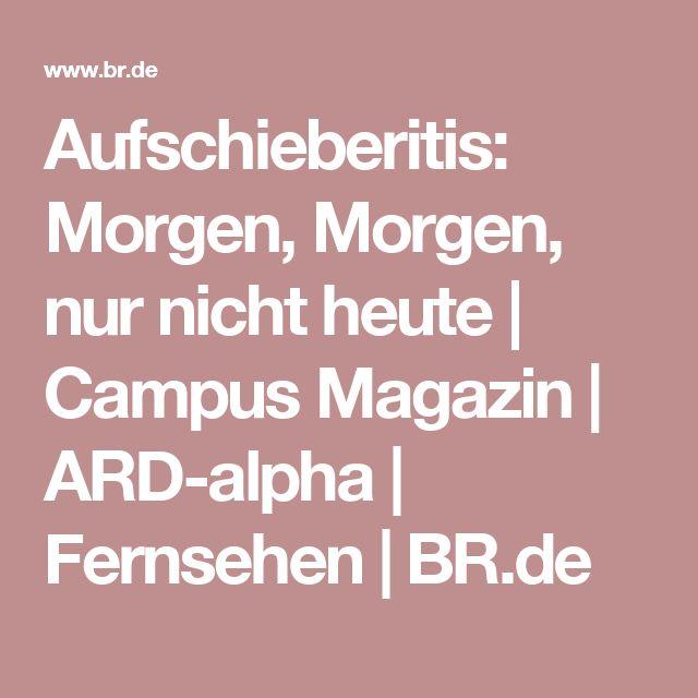 Aufschieberitis: Morgen, Morgen, nur nicht heute | Campus Magazin | ARD-alpha | Fernsehen | BR.de