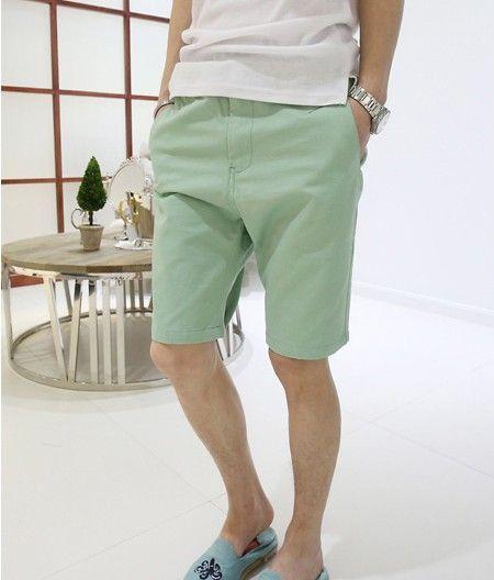Корейские повседневные брюки мужчины пять брюки летом тенденция японских мужчин в шортах с светло-зелеными случайных брюки 5 баллов - Taobao ...