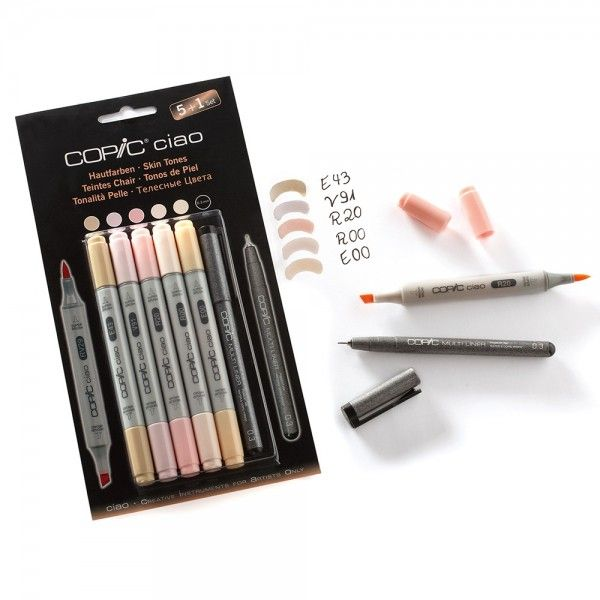 Copic Ciao 5+1 tussit - 21,50 € eka skin tones, sitten brights ja sitten grays