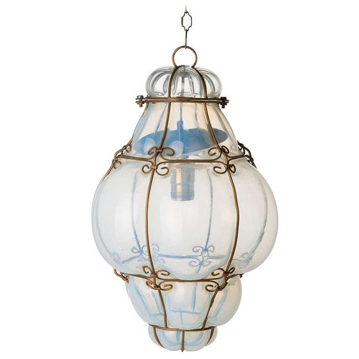 Italian Blown Glass Pendant Lighting | Vintage Hand Blown Seguso Murano Glass Cage Pendant Light at 1stdibs