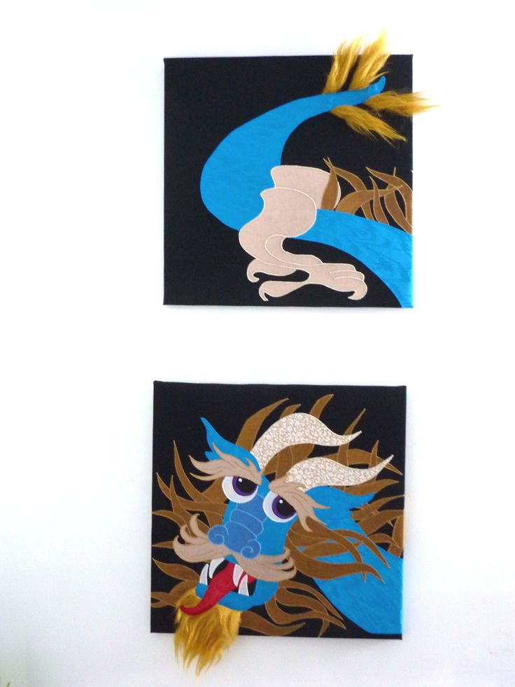 Handcrafted, 2 piece WALL ART. Each piece is 20x20; recycled fabrics appliqued on a black background. More original art can be seen on Facebook at www.facebook.com/allison.whonewcreations