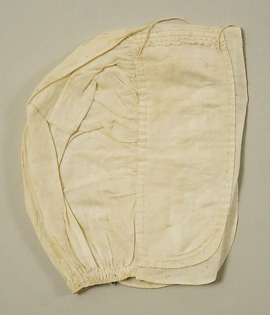 Cap  Date:     18th century Culture:     British Medium:     linen Dimensions:     Length: 11 in. (27.9 cm)