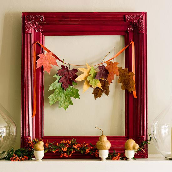 Picture frame wreath /  30 Kids Fall Crafts (pine cones, fall leaves, acorns and more)