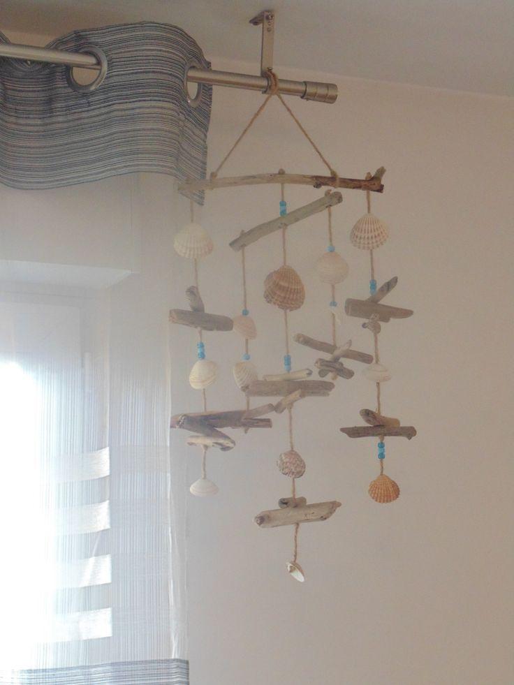 Mobile - Suspension - déco en bois flotté, coquillages et perles : Décorations murales par un-jour-de-pluie72