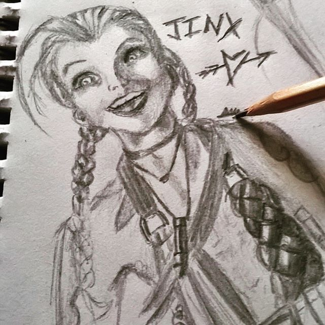 Just taking a moment from revision and art to chill with my babe. Jinx. On another note, I am trying to encourage my boyfriend to revise, but apparently I'm too distracting for us to revise with each other. It's more him drawing penises all over my arm and beautiful mind maps to be frank. #leagueoflegends #jinx #jinxleagueoflegends #lol #jinxlol #jinxtheloosecannon #theloosecannon #videogameart #leagueart #leagueoflegendsart