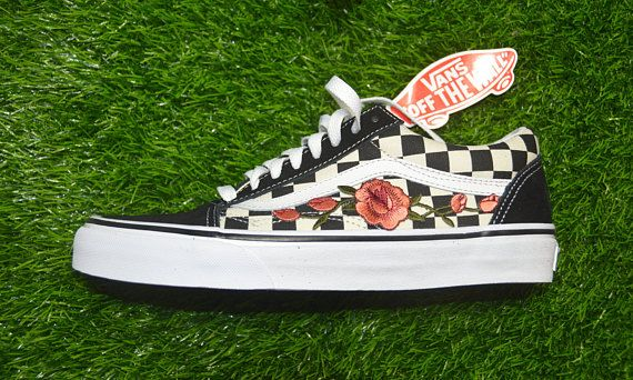 Rose Embroidered Iron On Shoes Sneakers