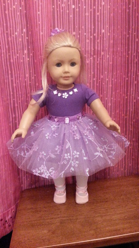 American Girl Doll Clothes: Purple Leotards With Lavender Iradescent Tutu Skirt And White Tights Fitted For AG And Similar Soft Body Dolls