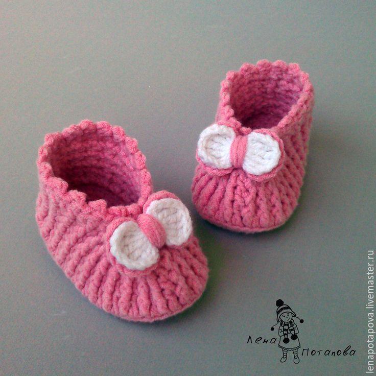 """Купить Пинетки-туфельки """"Бантики"""" - розовый, пинетки, на выписку, пинетки для девочки, вязаные пинетки"""