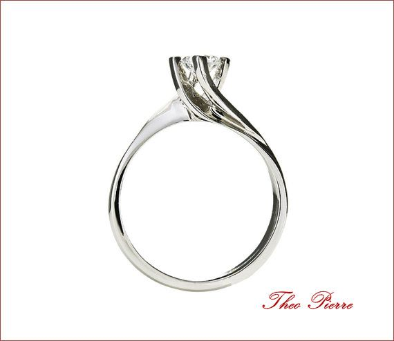 Solitaire Sterling Silver Ring Modern Ring or 18K by TheoPierre