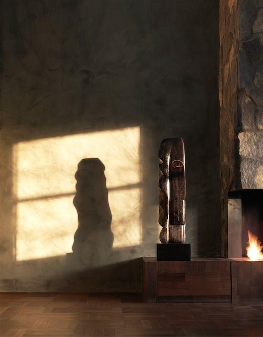 Mathieu Nab Sculptures I Modern Art Book I Photography by Frank Brandwijk I Interior 'Fireplace' 'Shadow Reflection on Wall' 'Wood'