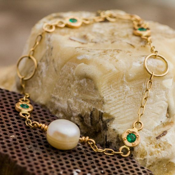 Natural Pearl and Vivid Bright Green Natural by ZEHAVAJEWELRY