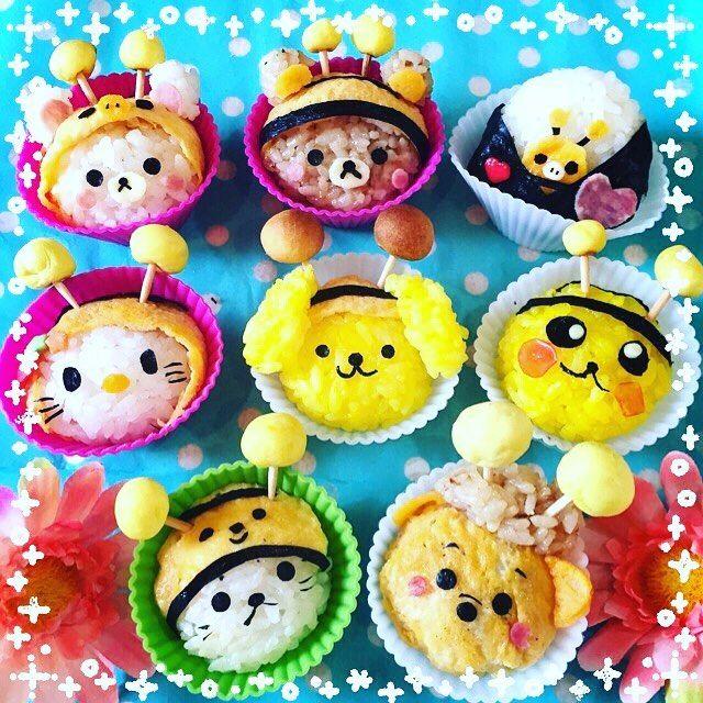Cute character cupcake onigiri by Ryoko (@yutianliangzi)