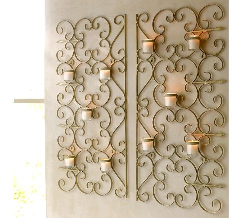 loveWall Art, Gates Wall Mount, Vintage Gates, Candles Holders, Living Room, Gardens Gates, Votive Holders, Vintage Candles, Pottery Barns