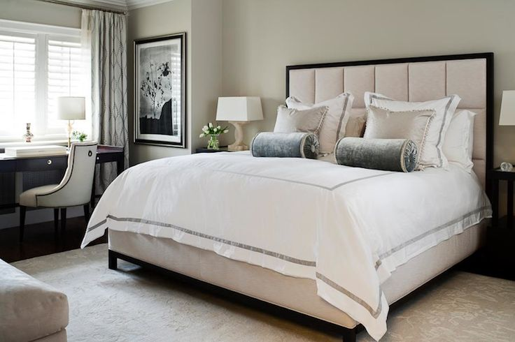 Jennifer Worts Design: Chic, elegant hotel-like bedroom design with padded headboard with crisp white hotel ...