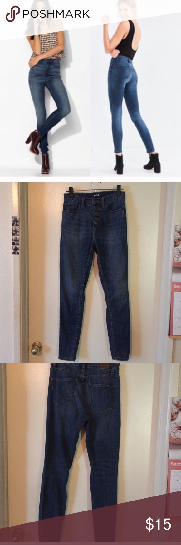 BDG ultra high rise button fly jeans Urban outfitters ultra high rise twig button fly jeans. Gently loved. Urban Outfitters Jeans Skinny