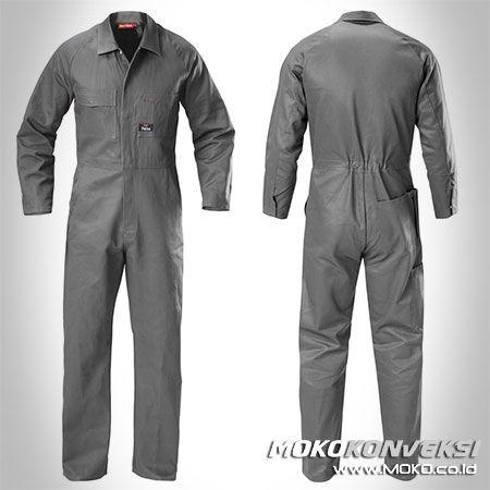 Safety Coverall - MOKO KONVEKSI. Desain Baju Seragam Lapangan Coverall Warna Abu Abu.