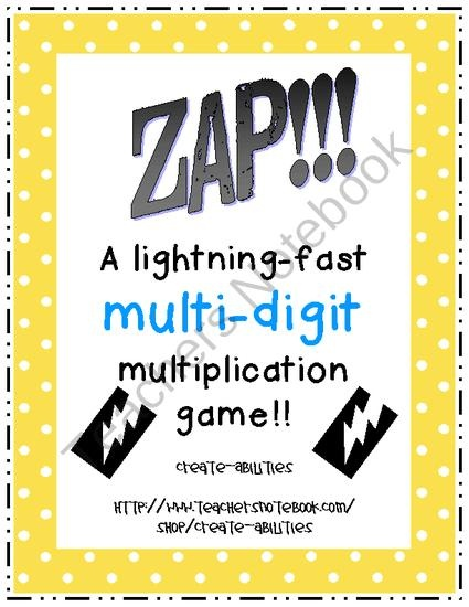Zap Multi Digit Multiplication Game Product From