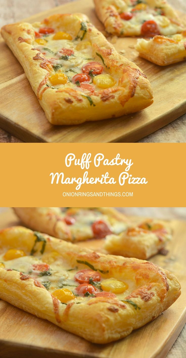 Puff Pastry Margherita Pizza made with ripe tomatoes, shredded mozzarella, fresh basil leaves, and puff pastry. With bright Spring flavors on a flaky, buttery crust, it's perfect as an appetizer, entree or last-minute snacks. #ad #InspiredbyPuff