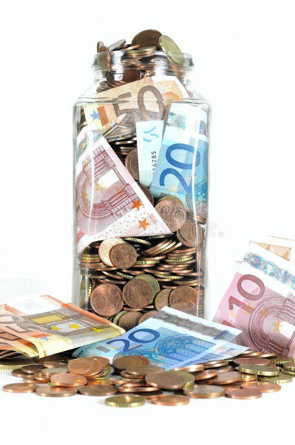 Euro Currency Gl Money Jar Full