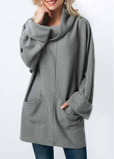 Grey Long Sleeve Pocket Cowl Neck Blouse on sale only US$32.06 now, buy cheap Grey Long Sleeve Pocket Cowl Neck Blouse at liligal.com
