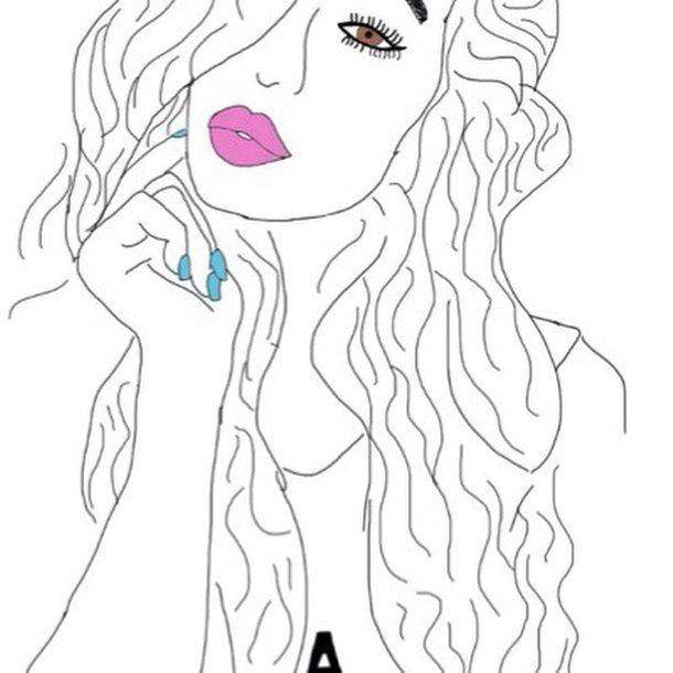 болван, нарисованное, рисунок, рисунки, подводка для глаз, еда, девушка, девушки, губы, длинные волосы, макияж, ногти, розовый, Tumblr