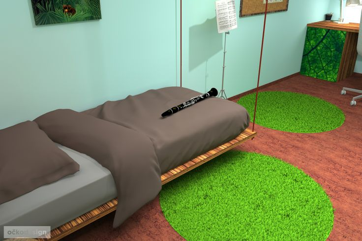 ...koberce mají imitovat travnaté ostrůvky a lana na kterých je postel zavěšena zase liány.  Petr Molek interiérový design 737167676 www.ockodesign.cz