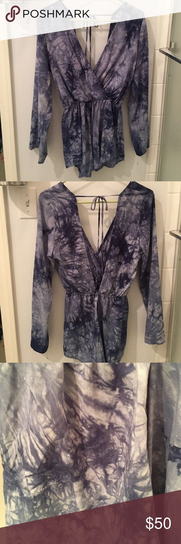 Blue tye dye romper Perfect condition, swoops in the front and ties in the back. Perfect with just about anything!!!! from a local boutique in KC called Etiquette. Urban Outfitters Other