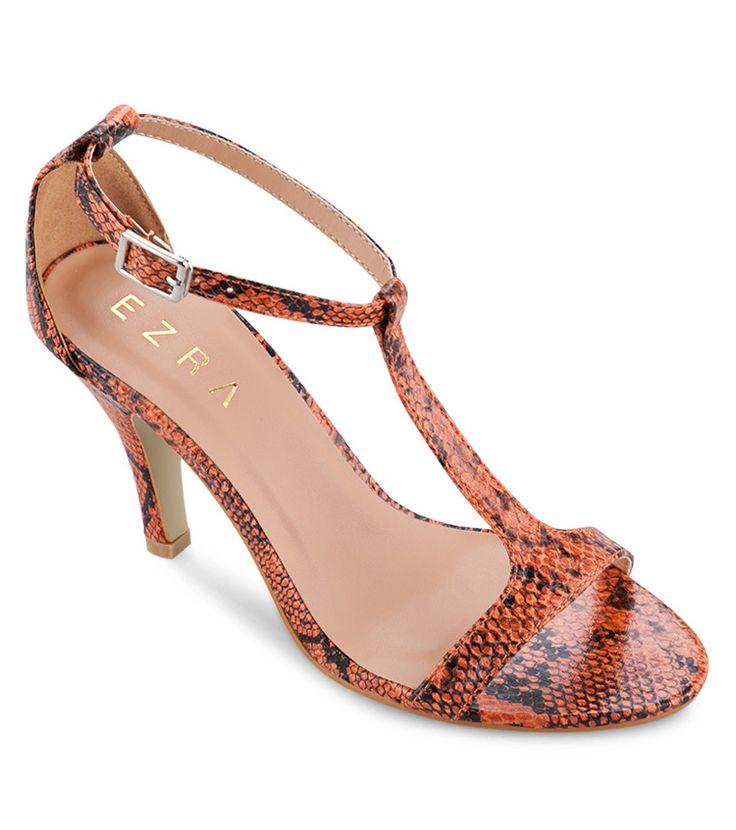 T-Bar Strappy Heels in orange by EZRA. http://zocko.it/LDcCP