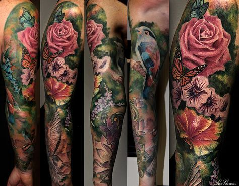 floral sleeve tattoos pesquisa google colorful tattoo. Black Bedroom Furniture Sets. Home Design Ideas