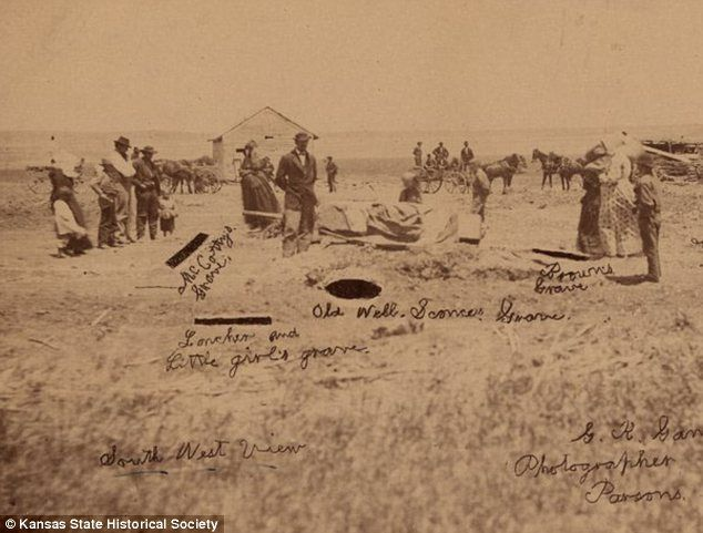 The Bloody Benders: This photograph from 1873 shows the graves found behind the Bender farm. It was noticed that the Benders' garden was always freshly plowed but never planted