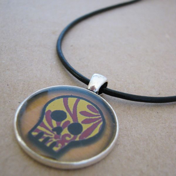 Unisex Sugar Skull Necklace - On A Whim Designs