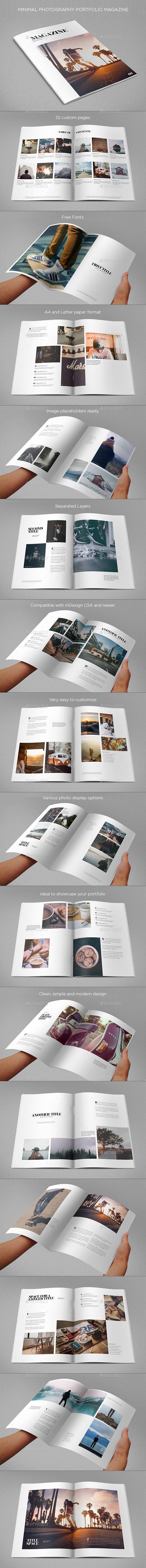 Minimal Photography Portfolio Magazine Template InDesign INDD. Download here: https://graphicriver.net/item/minimal-photography-portfolio-magazine/16987998?ref=ksioks