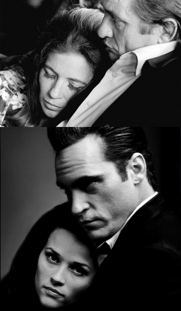 At top, Johnny Cash & June Carter Cash, and at bottom as portrayed by Joaquin Phoenix & Reese Witherspoon in Walk The Line (2005)