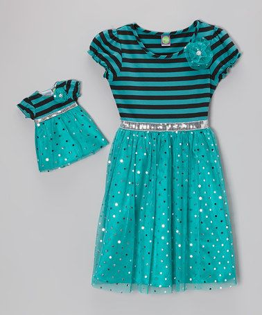 Loving this Turquoise Stripe Foil Dot Dress & Doll Outfit - Toddler & Girls on #zulily! #zulilyfinds