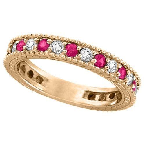 Rosa Safir Diamanter Vigselringar För Kvinnor Med Rosa Förlovningsringar | Sapphire Diamonds Wedding Ring