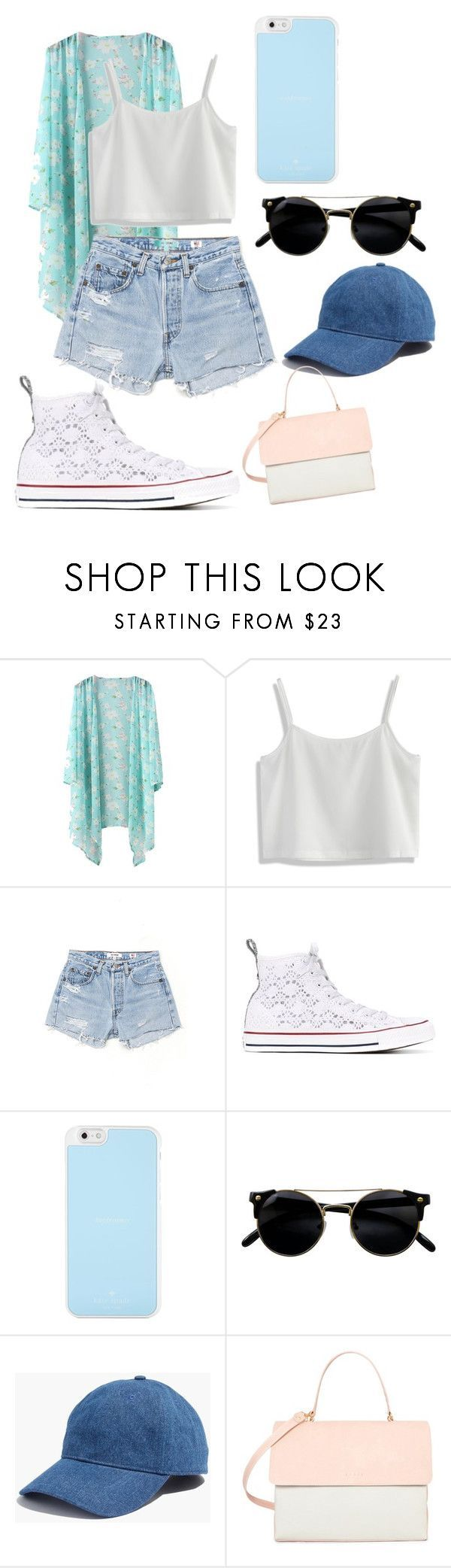 """Counting the Days Until School's Out"" by thatgirl6411xx ❤ liked on Polyvore featuring Chicwish, RE/DONE, Converse, Kate Spade, Madewell and Eddie"